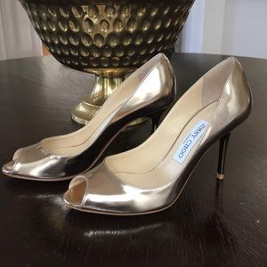 NWOB Jimmy Choo Gold Leather Peep-Toe Heels 36.5